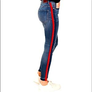 Express denim jeans with red stripe